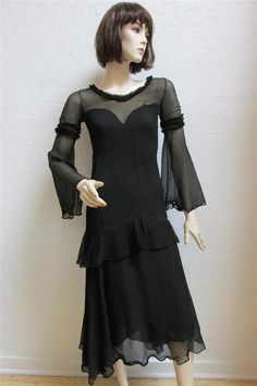1930's Black Sheer & Nude Ruffled Dress With Flowing Sleeves - XS by MTvintageclothing on Etsy