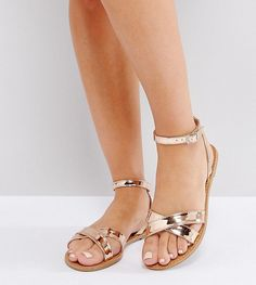 8c123d46fc73 Get this Asos s flat sandals now! Click for more details. Worldwide  shipping. ASOS FEEL GOOD Wide Fit Flat Sandals - Beige  Sandals by ASOS  Collection
