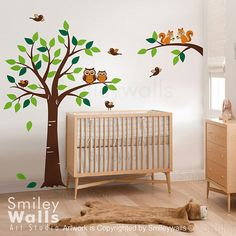Forest Tree and Branch with Squirrels Owls and door smileywalls, $109.00