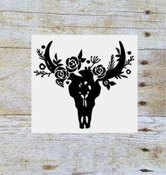 Steer skull floral decal, floral cow skull, flower bull skull, yeti decal, tumbler decal, tumbler cup decal, cow skull decal, vinyl decal by SouthernAnchorShop on Etsy