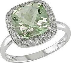 Miadora 10k White Gold Green Amethyst and 1/10ct TDW Diamond Ring (G-H, I1-I2)…