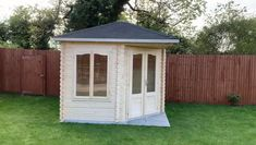 This is the amazing Melanie 1 from Cabins Unlimited which has recently been installed for a customer. The perfect corner summerhouse to relax and enjo your garden. Backyard Office, Backyard Sheds, Outdoor Sheds, Backyard For Kids, Backyard Landscaping, Small Outdoor Shed, Backyard Storage Sheds, Garden Sheds, Corner Summer House