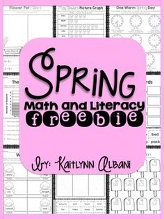 Spring Math and Literacy Packet BUNDLE Freebie! This is a sample of my Spring Math and Literacy bundle of 130+ pages!  Grab this freebie here! :)