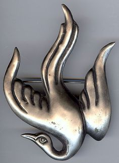 Vintage 1940s diving down dove pin is marked SILVER MADE IN MEXICO and has a unidentifiable signature.