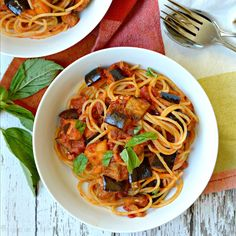 Eggplant Bolognese Pasta, from The First Mess Cookbook by Laura Wright, features roasted eggplant in a delicious spicy sauce. Vegan with gluten-free option.