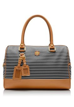 Striped satchel #toryburch