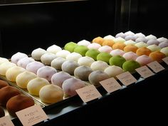 Japanese sweets - Ice Cream Mochi on display