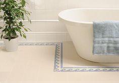 Trafalgar Border Blue on Dover White Ceramic Tile