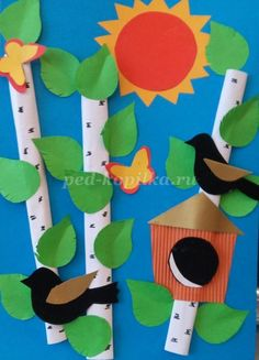 Art Lessons For Kids, Projects For Kids, Diy For Kids, Paper Crafts For Kids, Easy Crafts, Diy And Crafts, Origami, Birdhouse Craft, Art Drawings For Kids