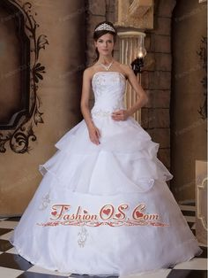 Pretty White Quinceanera Dress Strapless Appliques Satin and Organza  Ball Gown http://www.fashionos.com If you're longing for the romantic and elegant quinceanera gowns, this one may be just what you're looking for. It has a strapless bodice with a straight-cut neckline and gorgeous beadwork and appliques throughout the bust and waist. Fitted bodice with ruching can outline your slim figure and charming curve