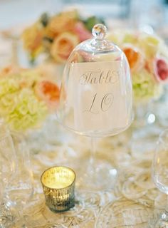 calligraphy under glass jars for table numbers... laura hooper calligraphy