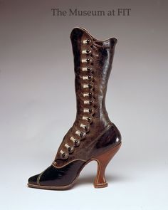 Jack Jacobus, Ltd., side-button boots, leather and silk, circa 1900, England, via The Museum at FIT.