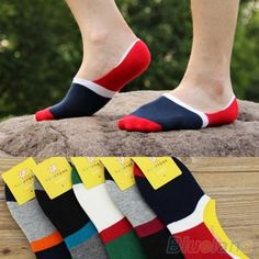 Hot 10 Pairs Men's Contrast Color Wide Stripe Loafer Boat No Show Low Cut Socks 1KKD