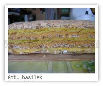 Mazurek orzechowy przekładany. Ciasto: - 60 dag mąki - 6 żółtek - 2 margaryny - 1i 1/2 łyżeczki proszku do pieczenia  Piana: - 7 białek ( 6 od ciasta + 1 od masy ) - 1 1/2 szklanki cukru kryształu - 1 łyżka octu - 3 cukry waniliowe ( po 16 g ) - 20 dag posiekanych orzechów  Masa: - 2 puszki mleka skondensowanego słodkiego  - 1 masło - 1 żółtko - sok z cytryny + alkohol do smaku