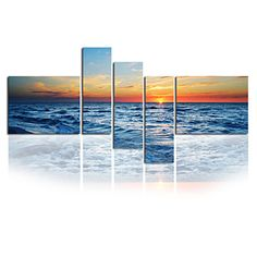 Seascape Photographic Canvas Wall Art Beach Stretched Canvas Print Five Panels High Quality Canvas Ready to Hang – USD $ 118.99