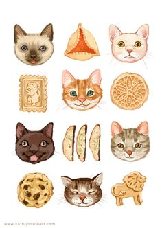 kathryn selbert Fine Art Print - Cats and Cookies Illustration I Love Cats, Crazy Cats, Cat Art Print, Fun Illustration, Cat Drawing, Fine Art Prints, Character Design, Artsy, Favorite Things