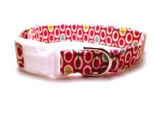Polka Dots Adjustable Dog Collar  Medium  Hot by ShortcakeDesigns, $16.00