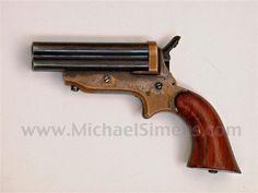 ANTIQUE GUN, SHARPS 4-SHOT PEPPERBOX OR DERRINGER PISTOL.