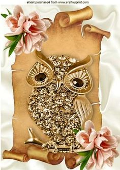 GOLD DIAMOND OWL ON SCROLL WITH PEACH FLOWERS A4 on Craftsuprint - Add To Basket!