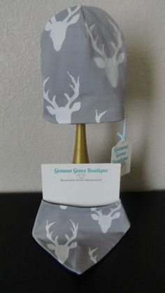 Reversible Grey Stag Hat by GemmaGemsBoutique on Etsy