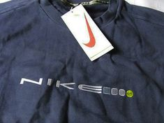 Vintage 90s Nike Swoosh EMBROIDERED SPELL OUT Sweatshirt Big Logo Dark Blue SIze Xl