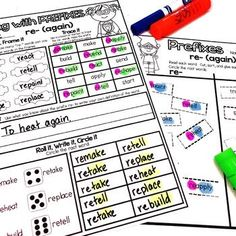 These interactive printables are perfect for teaching or reinforcing prefixes, suffixes, and root words.  #HollieGriffithTeaching #KidsActivities #WorkingWithWords