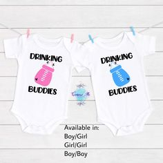 Drinking Buddies Baby Onesie For Twins. Twin babies. Sibling onesies. Baby bottle onesie. Unisex baby onesie. Jungle Theme Birthday, Safari Theme, Siblings, Twins, Custom Baby Onesies, First Birthday Shirts, Drinking Buddies, Baby Gender, Twin Babies