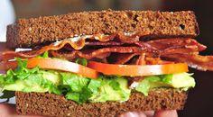 Baggin's California BLT  Bacon tomato lettuce avocado mayo cream cheese on 12 grain bread