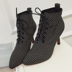 e325185392b4d Striped Pointed Toe Womens Single Red Bottom Boots 2016 Latest Fashion Sexy  Thin High Heels Short Lace Up Ankle Spring Autumn