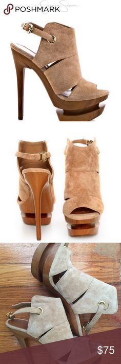 Cat-Camel Velvet Suede Jessica Simpson Pump Heels Jessica Simpson Cat Camel Suede Slingback Platform Heels with box. They'll be curious as how you pull of these hot heels so well. Jessica Simpson's Cat style brings you a beige velvety suede upper with adjusting strap. Cut outs, an architecturally shaped 1 1/4 inch platform, and 5 1/2 inch stiletto heel concludes this charmer. Shoe Details: Leather Upper This Shoe fits true size. These have been worn. Jessica Simpson Shoes Heels