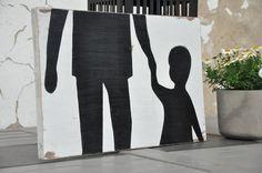 Tata z synem - tablica drewniana - OLDTREE - Ozdoby na ścianę