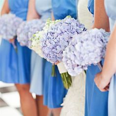 Hydrangea bouquets - They're in season! And they already come in puffs like this. Beautiful, simple.