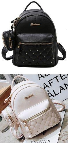 PU Girl's Black White Small Bag Snap Rivets Mesh Lingge Mini Backpack for big sale! #PU #BLACK #backpack #rivet #bag