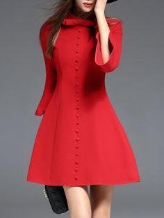 #AdoreWe StyleWe Mini Dresses - YIYIQI Red Buttoned Stand Collar 3/4 Sleeve Skater Mini Dress - AdoreWe.com