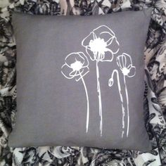 Linen Cushion Cover.Grey.White Poppies by agnes
