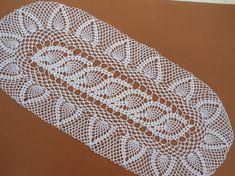Handmade crochet doily color - white 100 % - cotton size - 28 inches X 11 inches 71 cm. X 28 cm.