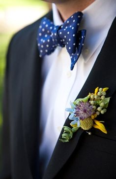 groom, accessories (groom's), suits, boutonniere, bow tie, boutonnieres, green, mauve, rustic, yellow, classic, navy blue, polkadot, ties, white, Spring, diy, Berkeley , California