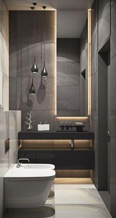 *Banheiro Social*: Iluminação Led Espelho, cor bancada e cor parede cinza escuro