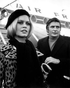Brigitte Bardot. Gunter Sachs. London Airport, 1967.
