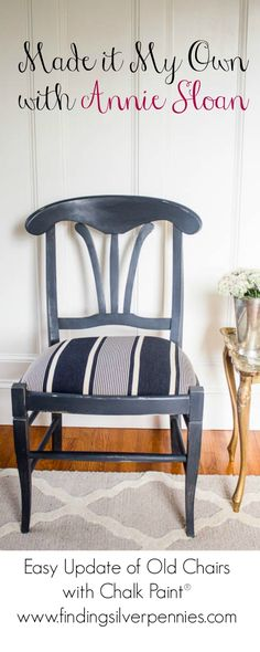 Danielle of Finding Silver Pennies #MadeItMyOwn with Annie Sloan by refinishing a set of lovely chairs with Graphite and the Paris Noir Ticking from the Annie Sloan Fabric Collection!