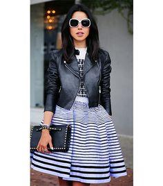 @Who What Wear - Annabella Fleur of Viva Luxury  On Fleur: Vintage jacket; Kenzo dress; Valentino Rockstud Flap Wristlet Clutch ($1495).
