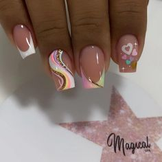Polygel Nails, Shiny Nails, Funky Nails, Trendy Nails, Manicure, Gold Glitter Nails, Pastel Nails, Square Nails, Flower Nails