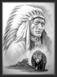 Pencil portrait of Chief High Bear Chief High Bear Native American Drawing, Native American Tattoos, Native American Paintings, Native American Wisdom, Native American Pictures, Indian Pictures, Native American Women, Indian Chief Tattoo, Native Indian Tattoos