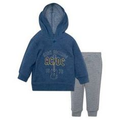 Have a little rocker on your hands? Get him band ready with the AC/DC Hoodie and Pants Set from Epic Rights®. He'll be rockin' and rollin' in extreme comfort with a soft cotton blend. A long-sleeve hoodie will keep him warm and cozy, and striped sweatpants complement the classic, edgy AC/DC font. In rock we trust, it's rock or bust!