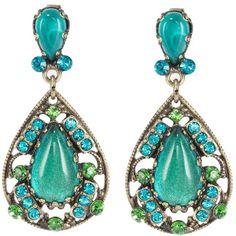 Konplott INDIAN PARADISE Earrings petrol ($79) ❤ liked on Polyvore featuring jewelry, earrings, petrol, konplott, indian jewellery, indian earrings, metal jewelry and konplott jewelry