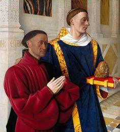 Jean Fouquet (c. 1420–1481) The Melun Diptych (left wing) Étienne Chevalier and Saint Stephen, c. 1454/1456. 96,9 x 88,2 cm. Staatlichen Museen zu Berlin, Gemäldegalerie, Berlin. 1617.