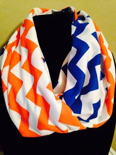 Orange and Blue Chevron Scarf. Yesss, finally found a scarf I can use on game day! Denver Bronco love ♥