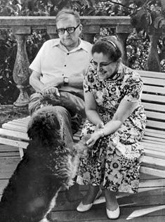 Dimitri Shostakovitch, Russian composer, with his dog.