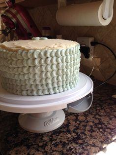 Baby shower cake for Lindsay - chocolate cake with vanilla orange buttercream