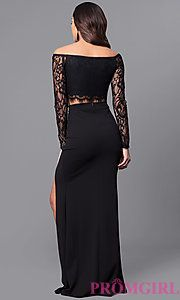 Image of two-piece black lace prom dress with long sleeves. Style: SY-IDS1056VP Back Image